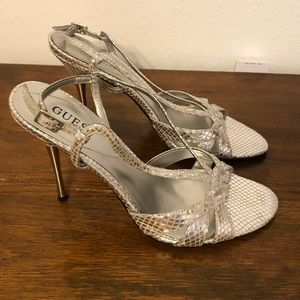 Guess silver heels size 7.5